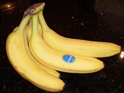 A bunch of bananas with a label