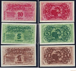 Bielefeld Germany linen Notgeld issued by Stadt-Sparkasse on 8 November 1923