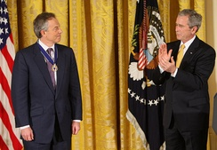 President Bush presenting former British Prime Minister Tony Blair with the Presidential Medal of Freedom, January 13, 2009