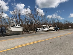 Boats washed up on U.S. Route 1 in the Florida Keys