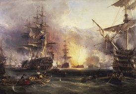 Painting of the Bombardment of Algiers by George Chambers Sr.