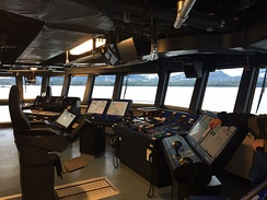 The interior of the bridge of the Research Vessel Sikuliaq, docked in Ketchikan, Alaska.