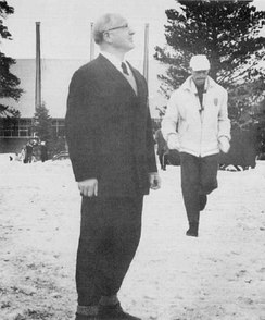 Brundage (left) examines the facilities at Squaw Valley, 1960 Winter Olympics.
