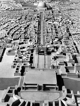 A model of Adolf Hitler's plan for Germania (Berlin) formulated under the direction of Albert Speer, looking north toward the Volkshalle at the top of the frame