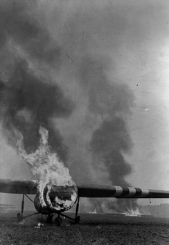 Burning British Horsa glider