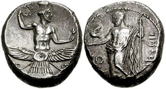 Coinage of Tiribazos, Satrap of Lydia, with Ahuramazda on the obverse. 388–380 BC.