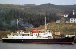 The CN ferry Hopedale off the outport of La Poile Bay, Newfoundland, in 1971