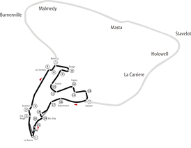 Map of the old and new (2004–2006) Spa circuits, overlaid