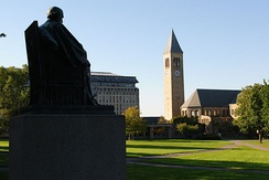 The Arts Quad on Cornell's main campus with McGraw Tower in the background