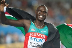 Kenyan Olympic and world record holder in the 800 meters, David Rudisha.