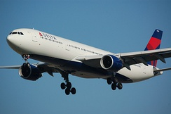 "An Airbus A330-300 painted in Delta's current livery, ""Upward & Onward"""