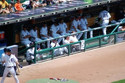 The dugout of the Detroit Tigers in Comerica Park is located on the third base side.