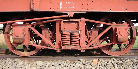 Diamond frame bogie, coil springs and journal boxes