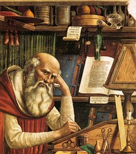 Detail of St Jerome in his Study. Still life objects include his cardinal's hat, spectacles, hour glass and seal.