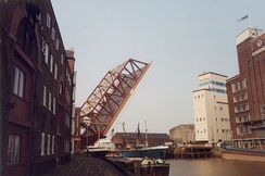 Drypool Bridge, raised to allow a freighter to pass