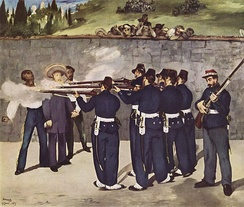 Édouard Manet's Execution of Emperor Maximilian (1868–1869), is one of five versions of his representation of the execution of the Austrian-born Emperor of Mexico, which took place on June 19, 1867. Manet borrowed heavily, thematically and technically, from Goya's The Third of May 1808.