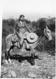 Emma Reh (1896–1982) was a science journalist for Science Service in the 1920s and 30s. Here she is reporting on an archaeological site in Oaxaca for Science News.[1]
