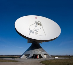 Earth station at the satellite communication facility in Raisting, Bavaria, Germany