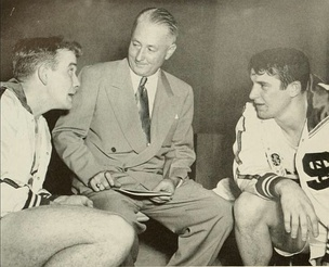 Players Dick Dickey and Sam Ranzino with coach Case in 1950.