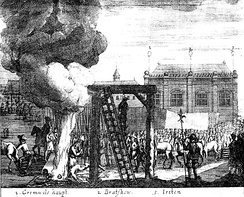 The execution of the bodies of Cromwell, Bradshaw, and Ireton, from a contemporaneous print