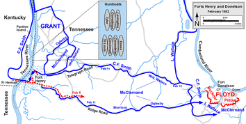 Battle of Fort Henry and the movements to Fort Donelson.   Confederate   Union