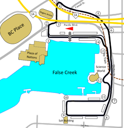 Vancouver circuit from 1999-2004 which removed the chicane at the old Turn 7 and added a chicane at Turn 13.
