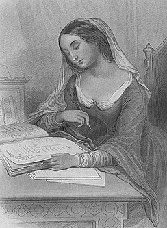 Héloïse imagined in a mid-19th-century engraving