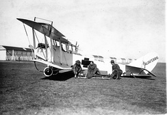 Converted JN-4 ambulance, operated by the Camp Taliaferro medical teams, around 1918