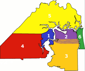 Approximation of the vernacular areas of Jacksonville:   1. Urban core neighborhoods – city limits before Consolidation   2. Arlington   3. Southside   4. Westside   5. Northside   6. Beaches