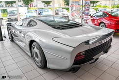 Rear three-quarters view of the production XJ220