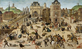 St. Bartholomew's Day massacre of French Protestants in 1572, an event in the French Wars of Religion