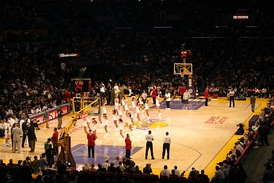 The Staples Center in Los Angeles hosts the Los Angeles Lakers, Los Angeles Clippers, Los Angeles Kings, and Los Angeles Sparks.