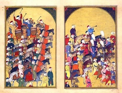 Depiction of the Ottoman military band in 1720. The notion of a military band originates from the Ottomans.