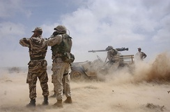 US Marines and Moroccan soldiers during exercise African Lion in Tan tan.