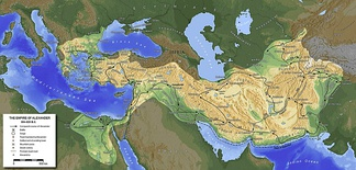 Map of Alexander's empire, extending east and south of ancient Macedonia.