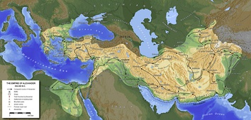 Map of Alexander's short-lived empire (334–323 BC). After his death the lands were divided between the Diadochi