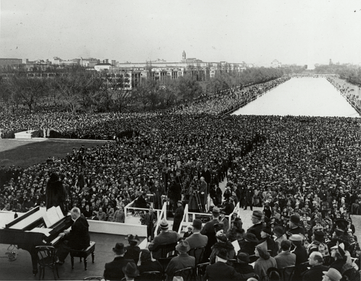 The 1939 concert by Marian Anderson, facing east from the Lincoln Memorial