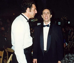 Richards with Jerry Seinfeld at the 44th Primetime Emmy Awards in 1992