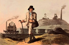 """The collier"" at Middleton Colliery, in The Costume of Yorkshire by George Walker, 1814"
