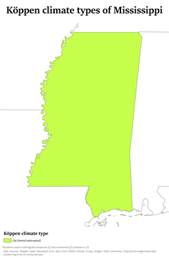 Köppen climate types in Mississippi, showing that the entire state is humid subtropical.