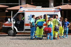 A volunteer ambulance crew in Modena, Italy