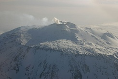Aerial photo of Mount Erebus on Ross Island