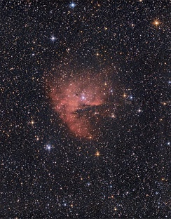 NGC281, popularly the 'Pacman Nebula', imaged from a suburban location using a 130mm amateur telescope and a DSLR camera.