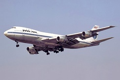 The original 747-100 has a short upper deck with three windows per side, Pan Am introduced it on January 22, 1970