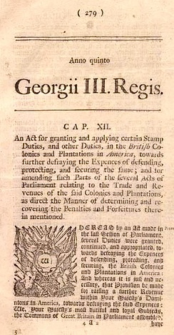 Printed copy of the Stamp Act of 1765