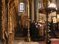 Chanters singing on the kliros at the Church of St. George, Patriarchate of Constantinople