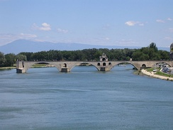 The Pont d'Avignon on the Petit Rhône. In the background is Mont Ventoux.