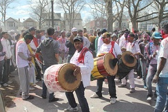 Drummers of Indo-Caribbean community celebrating Phagwah (Holi) in New York City, 2013
