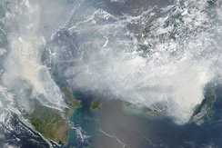 Satellite photograph of the haze above Borneo and Sumatra on 24 September 2015.