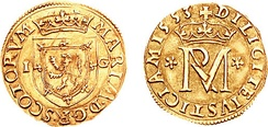 Gold coin of 1553: obverse, coat of arms of Scotland; reverse, royal monogram